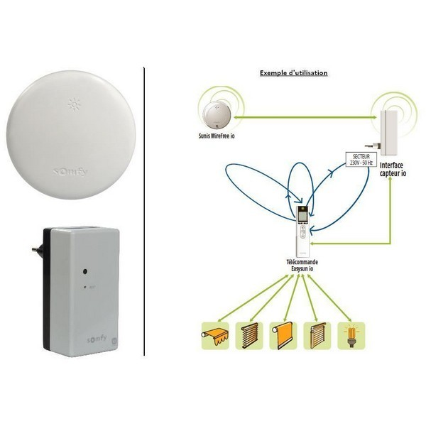 Capteur soleil SUNIS Wirefree io avec interface Somfy-SY1820003-Somfy
