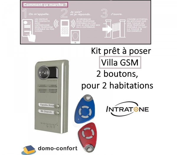 Kit Video Audio GSM VILLA 2 boutons sailli, 2 habitations, renvoi d'ap Intratone-INHV2S4-Intratone