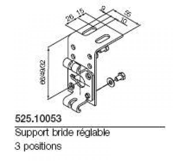 Support bride réglable 3 positions NICE-NI52510053-Nice