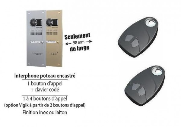 Kit Video Audio GSM VILLA encastré sur poteau 1 bouton finition laiton Intratone-INHV1P1-Intratone