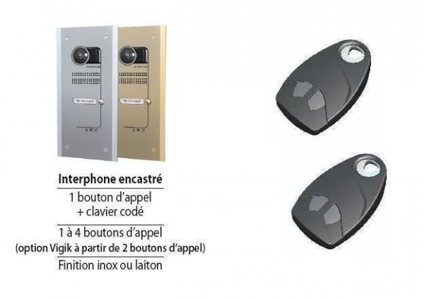 Kit Video Audio GSM VILLA encastré 4 boutons + vigik, finition inox Intratone-INHV4VE0-Intratone