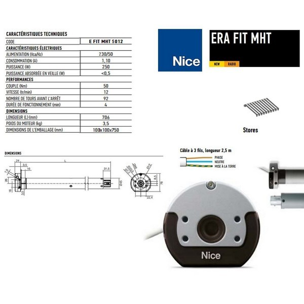 Moteur Era FIT MHT Ø45mm, radio 50Nm, fin course élect, manoeuvre de secour NICE-NIEFITMHT5012-Nice