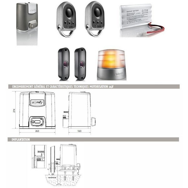 Automatisme Motorisation portail coulissant ELIXO 500 3S 24V pack confort RTS-SY1216364-Somfy