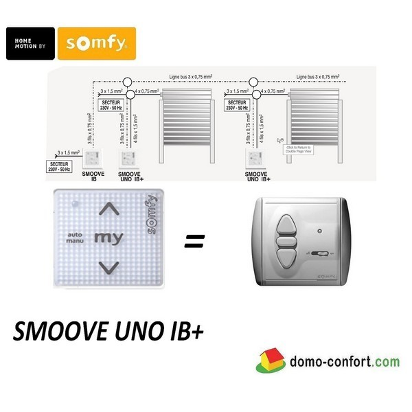 Commande filaire SMOOVE UNO IB Pure Shine *sans cadre* nvlle gamme ligne Bus (IB)-SY1811203-Somfy