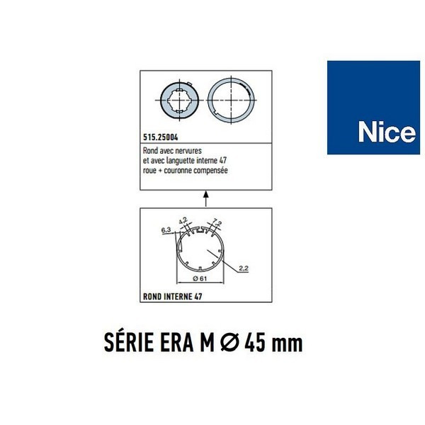 Adaptateur rond 47 avec nervures - roue+couronne- NICE-NI51525004-Nice