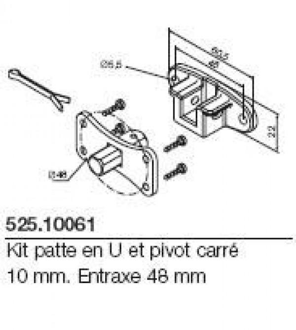 Kit patte en U pivot carré 10mm. Entraxe 48mm. NICE-NI52510061-Nice