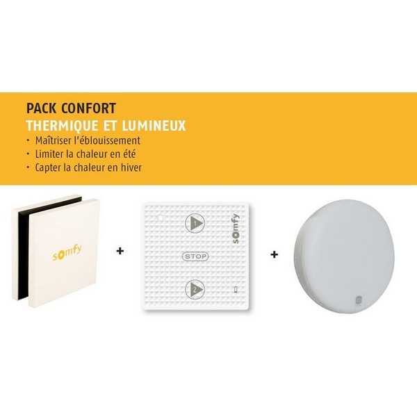 Pack Confort Thermique et Lumineux avec Tahoma + Sunis io + Lanceur scénario Som-SY9018066-Somfy