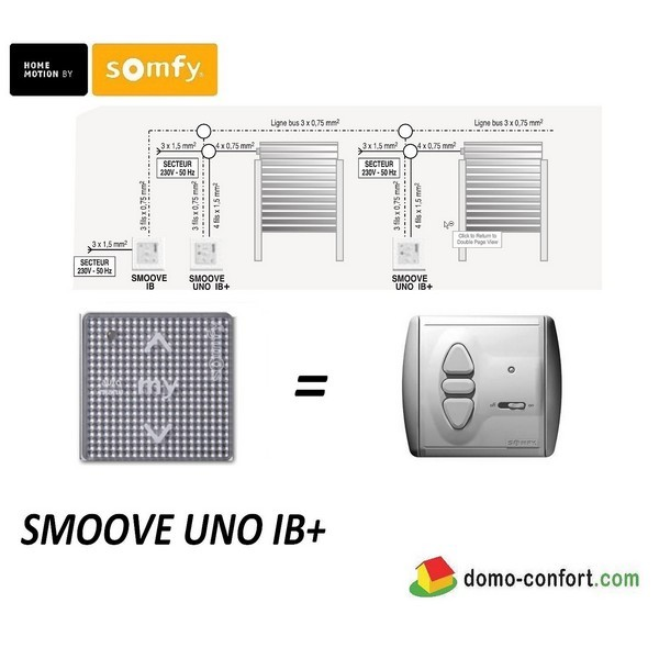 Commande filaire SMOOVE UNO IB Silver Shine ss cadre nvlle gamme ligne Bus (IB)-SY1811204-Somfy