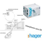 Kit interphone SANS FIL, portée 400m, platine de rue+ batterie+tèl HAGER