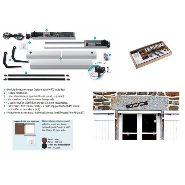 Kit YSLO FLEX RTS Motorisation volet 1 battant, L 590 à 900mm,  coloris marron -SY1240037-Somfy